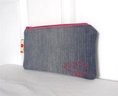 Hand Stitched Rhino Beetle Motif Upcycled Denim Pouch | One Busy Sloth | madeit.com.au