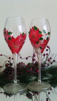 Set of 2 hand painted wine champagne by PaintedGlassBiliana