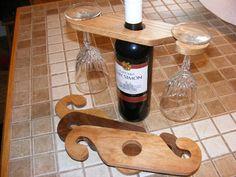 Wine Holder by BilleterCreations on Etsy Wine Bottle Glass Holder, Bottle Display, Wine Display, Glass Holders, Wine Bottle Crafts, Small Woodworking Projects, Small Wood Projects, Wine In The Woods, Rustic Wine Racks