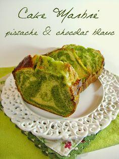 J'en reprendrai bien un bout...: Cake Marbré Pistache & Chocolat Blanc
