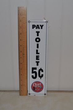 "Ande Rooney Porcelain Enamel Sign ""Pay Toilet 5c"" by VintageRevisitedWA on Etsy"