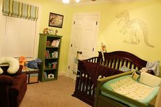 love the dinosaur on the wall ideas for Michael and Owen's room