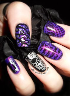 Grape Nail Art | Moyou London Gothic Collection plates 1 to 4 Review