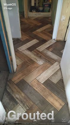 MARAZZI- Montagna Wood Vintage Chic Herringbone tile in an entry way and bathroom