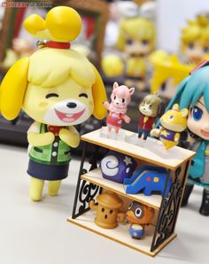 Happy Shizue displaying her figures. Animal Crossing Plush, Animal Crossing Villagers, Animal Crossing Pocket Camp, Blobfish, Anime Figures, Action Figures, Happy Home Designer, Cute Photography, Kids Z