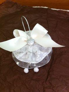 Pièce unique pour décoration (table, mariage, Noël..) Blanc argenté, finition impeccable !