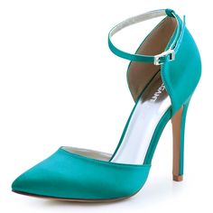 HC1602 Teal Ivroy Women Bride Bridesmaids Dress Court Pumps Pointed Toe  D orsay Stiletto Heels 04ecfd515441