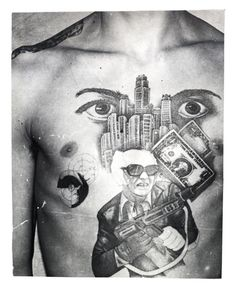 The dollar bills, skyscrapers and machine gun with the initials 'US' stamped on it convey this inmate's love for the American mafia-like lifestyle. The eyes signify 'I'm watching over you' (the other inmates in the prison or camp).  The epaulette tattooed on the shoulder denotes the inmates 'rank' among the criminal caste.