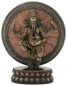 The Hindu deity Ganesha is featured standing in front of a lotus plaque. Hand painted for a faux bronze finish, it makes a striking desk or table accent. Made of cold cast resin. Jai Ganesh, Shree Ganesh, Lord Ganesha, Lotus, Religions Du Monde, Om Gam Ganapataye Namaha, Dancing Ganesha, Hindu Rituals, Sun Worship