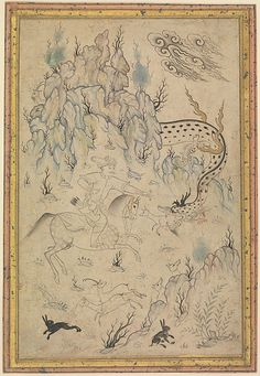 Hero and Dragon Object Name: Illustrated single work Date: third quarter 16th century Geography: Iran, Qazvin Culture: Islamic Medium: Ink, watercolor, and gold on paper
