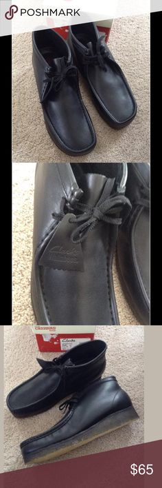 New Clarks Originals Mens Wallabee Boots 11.5 A great pair of classic Clarks boots. Wallabee Black Leather. Size 11.5 M. #35401  New in box (box not perfect). $130 retail.  The Clarks Originals Wallabee boot dates back to the 60s and features an absolutely timeless design. They boast a leather or suede upper, moc toe stitching, two eyelets, and signature natural crepe outsole.  Other Product Features:  Leather upper Crepe outsole Cushioned footbed Moc-toe stitching Heel measures…