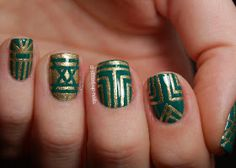 Dressed Up Nails: The Digit-al Dozen Does Art day 2, plus Emerald Nail Art Day - gold & emerald art deco nails!