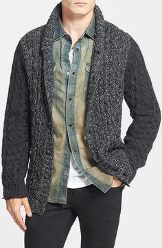 DIESEL® 'K-Likita' Cable Knit Shawl Collar Cardigan