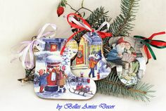 Christmas decorations set wooden Christmas by BellesAmiesDecor