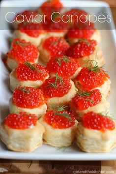 Caviar Canapes from the Girl and the Kitchen is a super elegant appetizer with caviar and frozen puff pastry that makes the easiest and most festive looking side dish for an event!