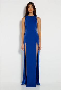 $250 Blue Lexi High Double Slit Maxi Dress
