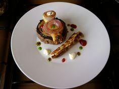 JHS  / Hamburger de veau aux olives mascarpone cannoli et pommes de terre avec petit arlequin de sauces Gino D'Aquino