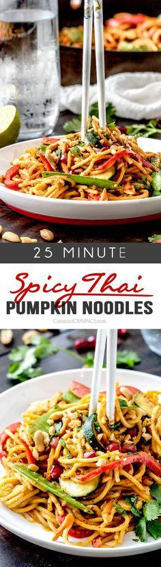 Easy 25 Minute Spicy Thai Pumpkin Noodles (with chicken option)