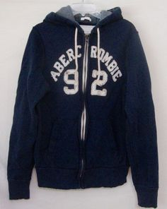 Abercrombie Muscle Hoodie Navy Blue Varsity Zip Up Long Sleeve Sweatshirt Large #AbercrombieFitch #Hoodie