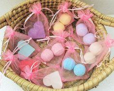 Pink Favours BULK ORDER. Mini Love heart soaps Mini Bath Bombs