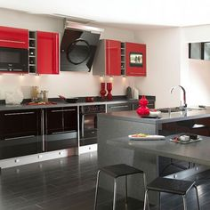 #Red And Gray Modern #kitchen Part 18