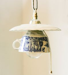 Tea Cup Lamp Hanging Lamp Upcycled Lamp by ScandinavianCrafts, $60.00