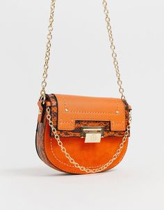 0bf1f3397ab1b River Island saddle crossbody bag in orange