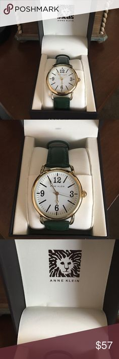 Green Anne Klein watch NWOT green watch. Never even took it out of box. Ordered it but got wrong color. No scratches or issues. It does work. Anne Klein Jewelry