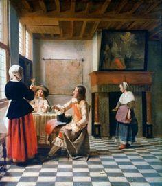 Pieter de Hooch, Een vrouw drinkend met twee mannen, waarschijnlijk 1658, 73.7 x 64.6 cm, National Gallery, Londen