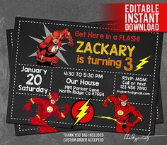 The Flash Invitation Instant Download Invitations Superhero Birthday Thank You Tag Free