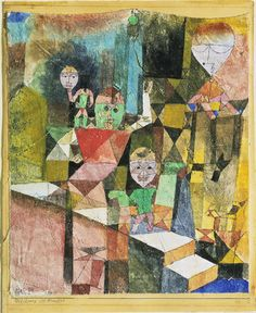 Introducing the Miracle  Paul Klee (German, born Switzerland. 1879-1940)    1916. Gouache, pen, and ink on plastered fabric, mounted on board