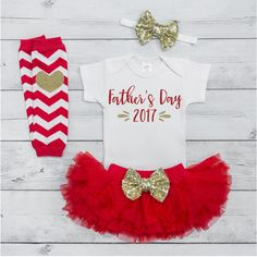 Newborn First Father's Day Outfit 2017 Baby Girl Fathers Day Outfit 1st Fathers Day Gift from Daughter Red and Gold Tutu Set 015S #1st_fathers_day #Baby #baby_fathers_day