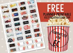 Free Printable Movie Night 2018 Planner Stickers from Victoria Thatcher