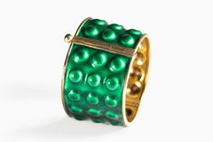 Silver and Green Enamel Bracelet  by: Grete Prytz Kittelsen produced by:  J. Tostrup