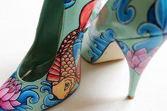 Hand painted Heels - concealed platform court shoes- Killer Koi Heels: Limited Edition - Kezbirdie by kezbirdie on Etsy https://www.etsy.com/listing/55657230/hand-painted-heels-concealed-platform