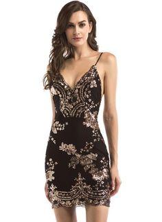 Womens Gold Black Sequins Dress 2018 New Sexy V-neck Backless Women  Sundress Luxury Party Club Wear Mini Sequined Dress Vestidos 51b869137543