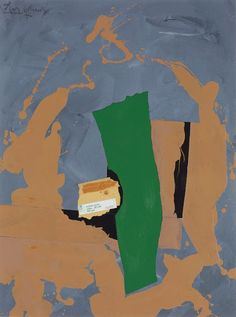 Robert Motherwell, Arches Cover, 1976, Acrylic, paper, printed paper and packing tape collage on canvas board, 40 x 30 inches