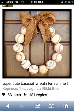 Baseball door wreath