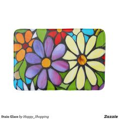 Shop Stain Glass Bathroom Mat created by Happy_Shopping. Personalize it with photos & text or purchase as is! Mosaic Flowers, Stained Glass Flowers, Stained Glass Art, Mosaic Glass, Mosaic Wallpaper, Mosaic Artwork, Stained Glass Patterns Free, Wal Art, Mosaic Crafts