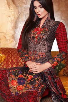 Silk Velvet Collection VL-18  Shop Now: https://www.gulahmedshop.com/products/red-silk-velvet-vl-18