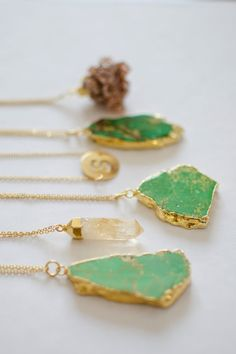 Gold Plated Bright Green Variscite Necklace Gemstone by oliki