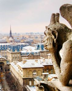 Gargoyle, to ward off evil spirts from atop  of the Notre Dame cathedral in Paris, an old Movie,  The Hunchback of Notre  Dame, Quasimodo, dumps hot oil on the evil crowd below, he saves the gypsy girl.