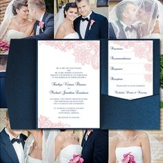 "Pocket Fold Wedding Invitations ""Vintage Lace"" Blush Pink & Navy Blue Printable…"