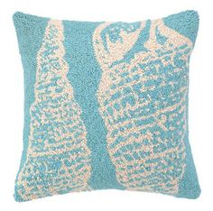 Seashell Coastal Decor Hook Pillow   Printable   Zoom Price: $54.99  We love the modern over-sized seahsells on thisBlue Double Seashell...