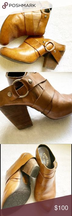 KORK EASE Cognac Brown Mules, Size 8.5 KORK EASE MULES, Size 8.5 Leather upper and lining.  Cognac brown with silver colored buckle.  Hardly worn. Kork-Ease Shoes Mules & Clogs