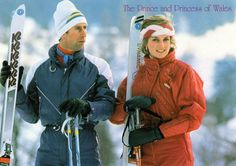 PRINCESS DIANA & PRINCE CHARLES in SKIING OUTFITS BRITISH ROYALS LARGE POSTCARD in Collectables, Postcards, Royalty | eBay