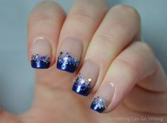 Violet glitter french manicure