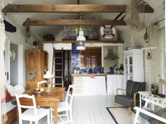 Guest House Shed, Tiny House, Stockholm, Garage Party, Beach Shack, Saunas, Wood Countertops, Dining Area, Beach House