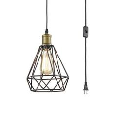 Farmhouse Plug in Pendant Light with On/Off Switch Wire Caged Hanging Pendant Lamp (Oil-Rubbed Bronze), Black Hanging Porch Lights, Industrial Hanging Lights, Farmhouse Pendant Lighting, Porch Lighting, Hanging Lights In Bathroom, Farmhouse Lamps, Club Lighting, Kitchen Lighting, Modern Farmhouse