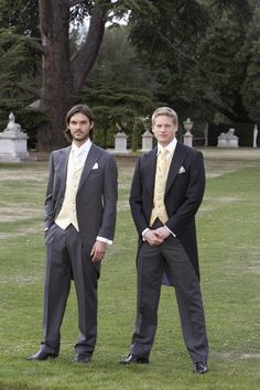Light weight herringbone morning suits with grey stripe trousers detail - click here to zoom